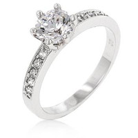 Petite White Engagement Ring, size : 07