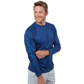 Tide to Trail Long Sleeve Performance Tee Shirt in Yacht Blue by Southern Tide