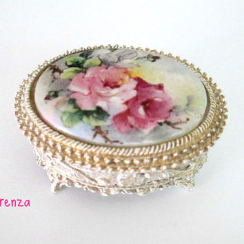 Florenza Trinket Box / Engagement Wedding Rings Holder / Antique White Pink Roses
