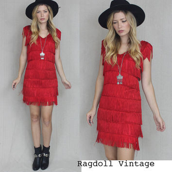 Vintage 70s/80s Cherry Red Flapper Fringe Cocktail Party Mini Dress