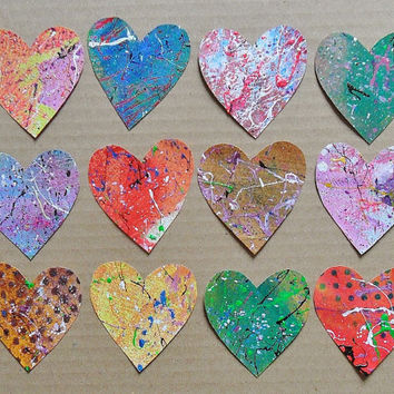Heart Shapes Tags Bright Colors Hand Painted Glitter Collage Scrapbook Supplies Grab Bag Die Cut Embellishments Destash Paper Pack Confetti