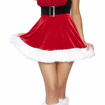 Roma USA Santa's Envy Fur Trimmed Mini Dress with Buckle