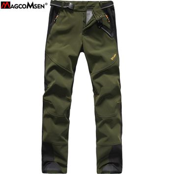 MAGCOMSEN Softshell Tactical Military Pants Men Women Waterproof Windbreaker Cargo Thermal Fleece Pants AG-FJJ-08