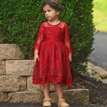 Victoria Wine Lace Dress - Toddler & Girls