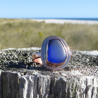 Sea Sapphire Copper Sea Glass Ring Cobalt Blue by Wave of Life