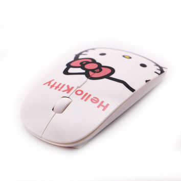 Computer Mouse Ultra Thin Hello Kitty KT Wireless Mouse 1200DPI Pro Game Mice Gift