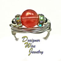 DWJ0349 Lovely Watermelon Quartz Gemstone Solitaire Wire Wrap Ring All Sizes