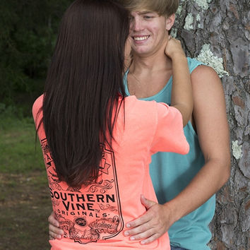Southern Vine Originals Flagship Roots Run Deep Tree Authentic Unisex Neon Red Orange Bright T Shirt
