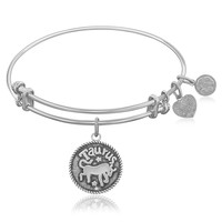 Expandable Bangle in White Tone Brass with Taurus Symbol