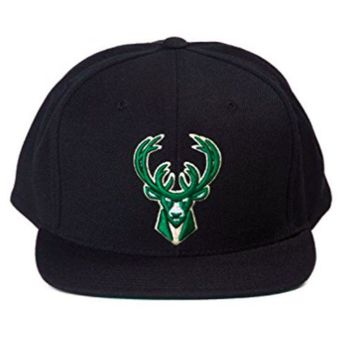ONETOW Milwaukee Bucks NBA Mitchell & Ness Team Logo Solid Wool Adjustable Snapback Hat Black