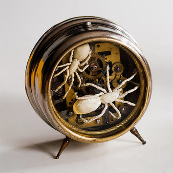 textile art cabinet of curiosities spiders sculpture, vintage alarm clock