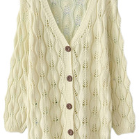 ROMWE Hollow-out Crochet Long Sleeves White Cardigan