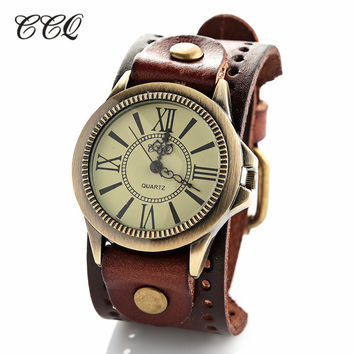 New fashion big sport quartz wristwatches mens women's luxury brand retro style Genuine leather watches JW1743