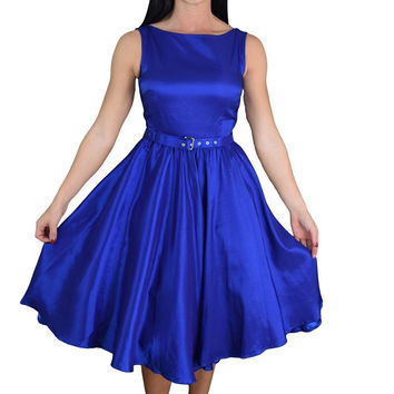 Rockabilly Pinup Deep Blue Satin Cocktail Flare Party Swing Dress Plus