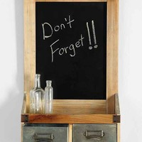 Dual-Drawer Chalkboard Wall Shelf- Brown One