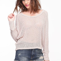 NETTED DOLMAN KNIT TOP