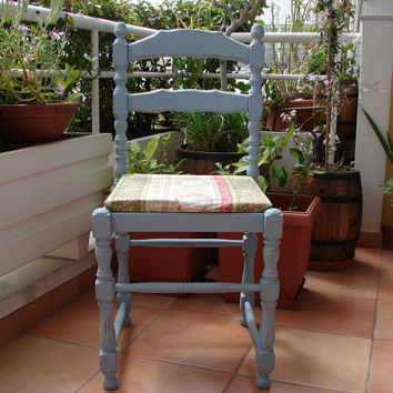 Vintage,blue-painted,beautiful turned wood ladder back chair,French cherub cameo fabric seat shabby chic,-