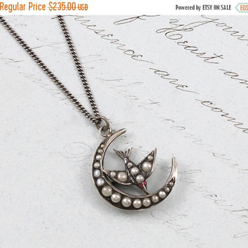 Victorian Crescent Moon & Sparrow Necklace, Antique Sterling Silver and Seed Pearl Bird Pendant, Bohemian Bridal Anniversary Gift Jewelry