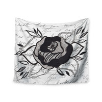 "Li Zamperini ""Like A Rose"" Black White Wall Tapestry"