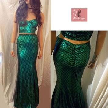 Mermaid Maxi Skirt Set, Green Mermaid Scale Skirt Set, Green Maxi Dress, Trumpet Skirt & Top, Beautiful Skirt Set, Sexy Maxi Skirt, Costume