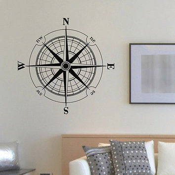 WALL DECAL VINYL STICKER WIND ROSE COMPASS TRAVEL GEOGRAPHY DECOR SB684