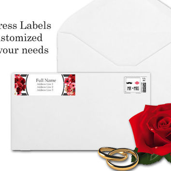 Wedding Return Address Labels Customized to fit your needs Grey stripes with Pink White and Red Floral print