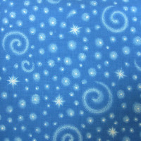 Stars, Moons and Swirls on Blue Fabric Material, A V.I.P. Print, Cranston Print Works Co, 1 yard, Fabric Destash
