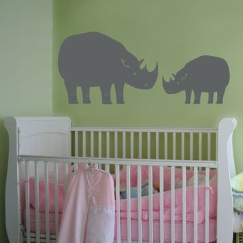 Vinyl Wall Decal Sticker Rhino Mother and Baby #OS_MB345