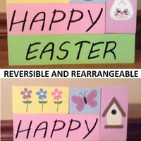 Happy Easter Happy Spring Reversible Pastel Stacking Wooden Blocks Easter Decoration Home Decor, Easter Bunny Basket Flowers Decoration