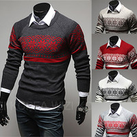 Vintage Print Classic Men Fashion Knit Sweater
