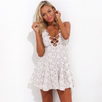 Fashion hollow out Solid color lace dress
