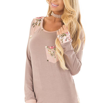 Taupe Top with Faded Pink Floral Print Contrast