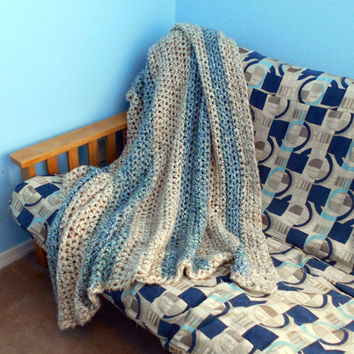 "Handmade Crochet Afghan, Chunky Heavy Blanket, Blue & Beige Striped, 60x60"", Home Decor, Living Room Accents - MADE TO ORDER"
