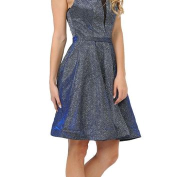 Royal Blue Short Metallic Party Dress with Strappy Back