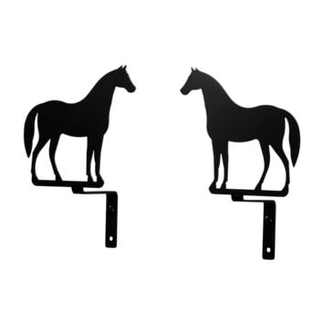 Wrought Iron Standing Horse Curtain Swag -Set