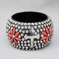 Coral Flower and Cross Bangle with Bling