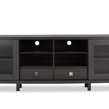 Baxton Studio Walda 70-Inch Dark Brown Wood TV Cabinet with 2 Sliding Doors and 2 Drawers  Set of 1