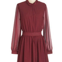 ModCloth Mid-length Long Sleeve A-line Flutter-ly Ravishing Dress