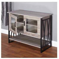 Grey Wood Buffet Server Storage Black Kitchen Cabinet Dining Seneca Rustic Vibe