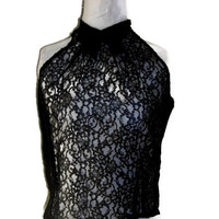 "Vintage 1960's Black Lace Halter Blouse, Chantilly Lace Back Buttoned Evening Top, Bust Measurement 35"" (89cm), Price Includes US Shipping"