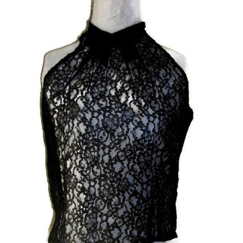 """Vintage 1960's Black Lace Halter Blouse, Chantilly Lace Back Buttoned Evening Top, Bust Measurement 35"""" (89cm), Price Includes US Shipping"""