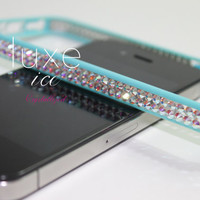 iPhone 4, 4s, 5, 5s Bumper made w Swarovski Elements. 12ss crystals Blue & Crystal AB color
