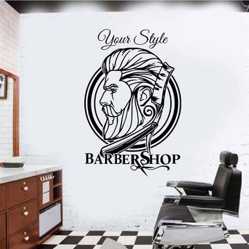 Personalised Wall Art Sticker For Barber Shop Hipster Hair Salon Mural Specials Waterproof Decal DIY A342