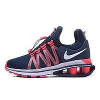 Nike Shox Gravity High Quality Fashion Woman Men Casual Running Sport Shoes Sneakers Dark Blue/Rose Red