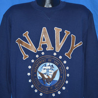 90s Navy United States Military Sweatshirt Large