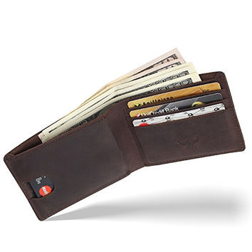 Bos Gaurus Classic Minimalist Wallet - Full Grain Genuine Leather, Capacious and Practical with Card Holder and Cash