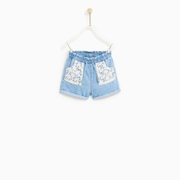 DENIM BERMUDA SHORTS WITH LACE