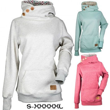 Divas Snow Gear Side Button Pullover Womens Hoodies (Size: S-5XL Color:Grey,Grey,Blue) [9145123270]