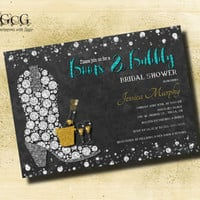 Boots and Bling Invitation / Rustic theme / Boots & Bubbly Bridal shower / Wedding Shower Invite, Diamond Boot Invitation diamond invitation