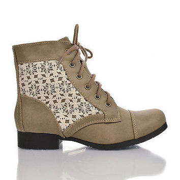 Sub Taupe Pu By Soda, Round Toe Crochet Lace Up Low Heel Combat Ankle Booties